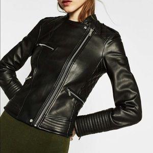 e0cfc6ba Zara. Zara Trafaluc black leather motorcycle jacket